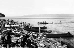 Boats landing on the coast of Lesbos