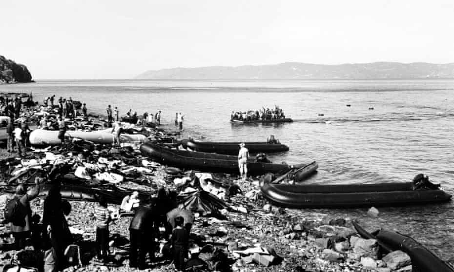 Boats arriving on Lesbos