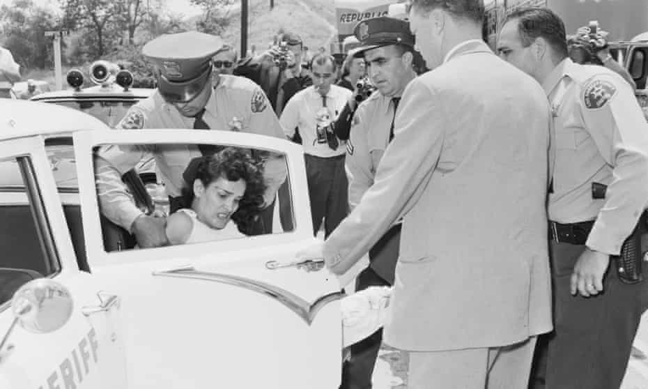 Aurora Vargas being arrested during her eviction from Chavez Ravine 1959