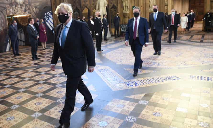 Boris Johnson and Keir Starmer at the state opening of parliament, 11 May.