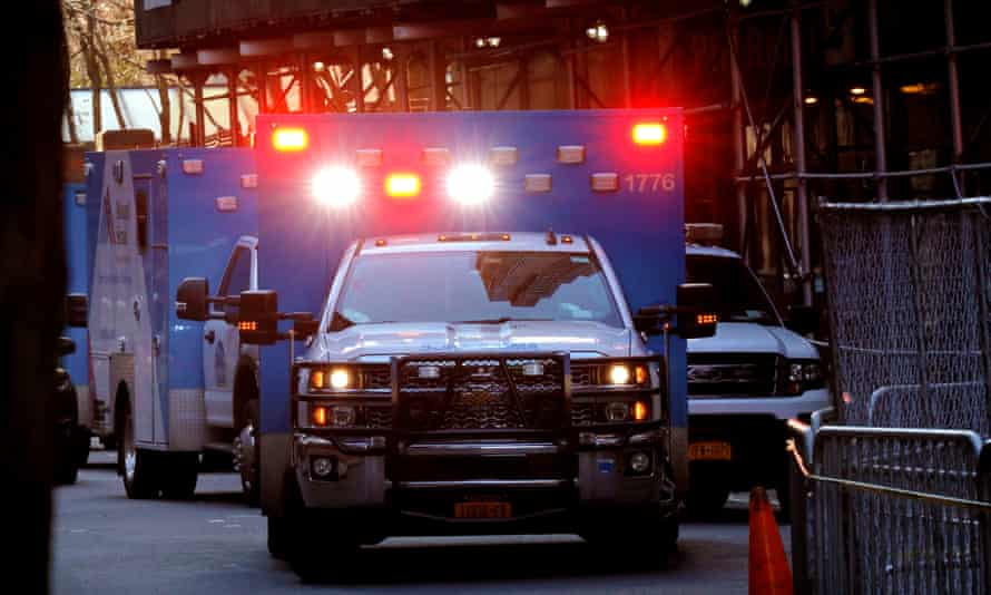 New York City Coronavirus<br>epa08324524 Ambulances queue up outside of the Emergency room at Mount Sinai West Hospital to treat coronavirus patients in New York, New York, USA, 26 March 2020. New York City is now an epicenter of coronavirus COVID-19, the disease caused by the virus, New York City has reported over 20,000 confirmed cases and 280 deaths. EPA/PETER FOLEY