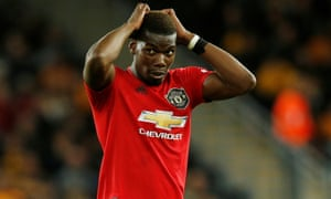 Manchester United's Paul Pogba reacts after his penalty is saved at Wolves.