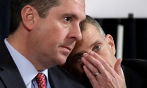 Devin Nunes, left, and the minority counsel Steve Castor confer during Wednesday's hearing.