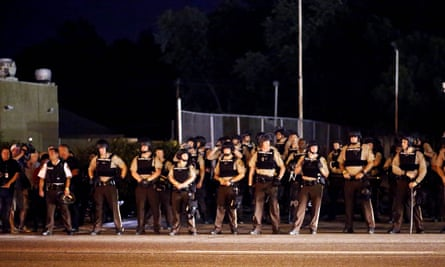 Police line on a street in Ferguson a year after Michael Brown's death.