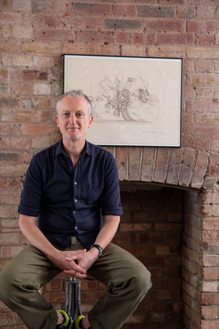 Michael Landy photographed in his London studio with Jean Tinguely's Sketch for Heureka.