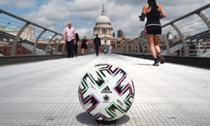 London Previews - UEFA Euro 2020<br>LONDON, ENGLAND - JUNE 10: Adidas Uniforia - Official UEFA EURO 2020 Matchball on the Millenium Bridge, near St. Pauls Cathedral ahead of the UEFA Euro 2020 Championship on June 10, 2021 in London, England. (Photo by Eamonn McCormack - UEFA/UEFA via Getty Images)