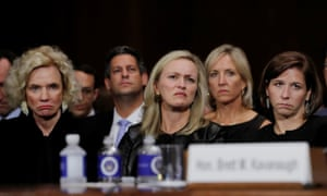 Brett Kavanaugh's family members listen to him testify before a Senate judiciary committee confirmation hearing on 27 September.
