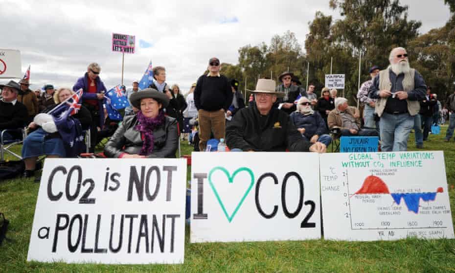 Anti-carbon tax protesters in Australia in 2011.
