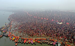 An aerial view of the Sangam, the confluence of the Ganges, Yamuna and mythical Saraswati rivers, during the second royal bathing day of the Kumbh Mela