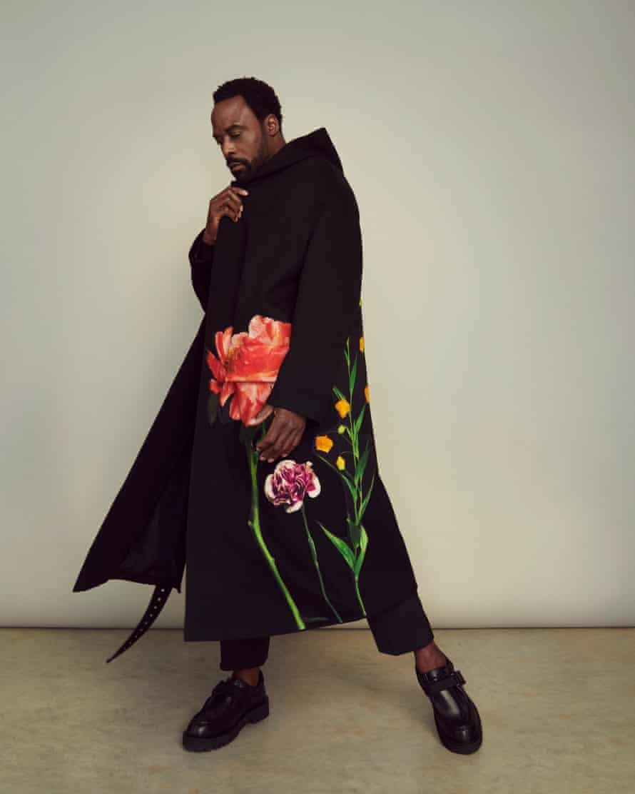 'My dad tried so hard in this country': Floral coat, trousers and shoes, all valentino.com.