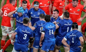 Leinster players celebrate a Ronan Kelleher try in their Pro 14 semi-final against Munster at the Aviva Stadium on 4 September