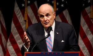 Rudy Giuliani delivers remarks before a Trump rally in Iowa.