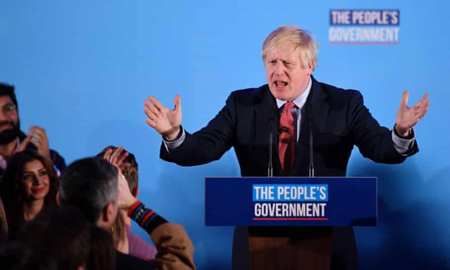 Boris Johnson speaks to supporters after his election victory