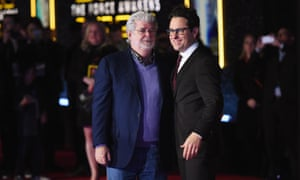 Two generations of Star Wars creatives: George Lucas, left, and JJ Abrams (who directed and co-wrote the new film).
