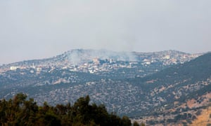 Smoke rises from a hill in the Shebaa Farms area