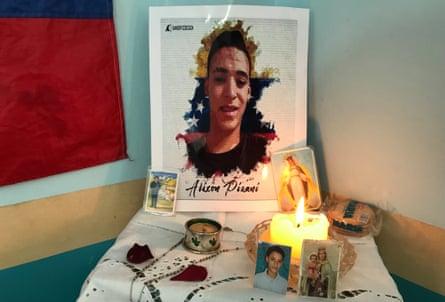 A shrine to Alixon Pisani, 19. 'He was still just a boy,' said his aunt, Nivea Troloro Pisani.