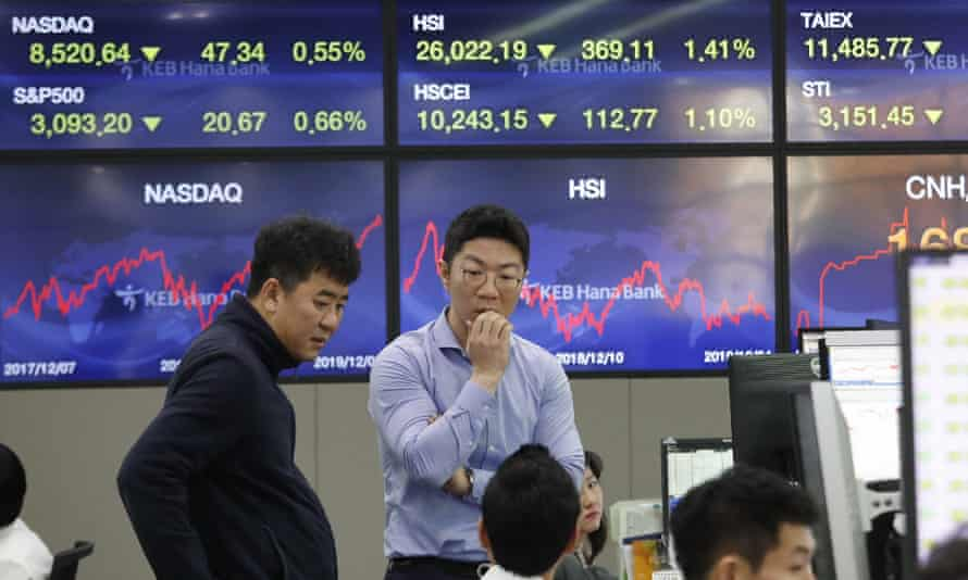 Asian stock markets have followed Wall Street lower after President Donald Trump cast doubt over the potential for a trade deal with China this year
