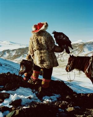 An eagle hunter near Altai village, Bayan-Ullgi, Western Mongolia.