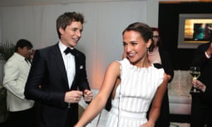 Alicia Vikander with her co-star from The Danish Girl, Eddie Redmayne, at the NBC Universal Golden Globes after party.