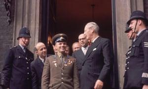 Cosmonaut Major Yuri Gagarin during his visit to Admiralty House, London, to meet Harold Macmillan, 13 July 1961.