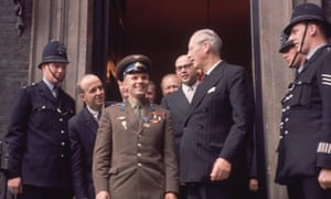 cosmonaut yuri gagarin meets harold macmillan at admiralty house london in july 1961