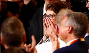 Kramp-Karrenbauer reacts after being announced the winner of the party leadership contest