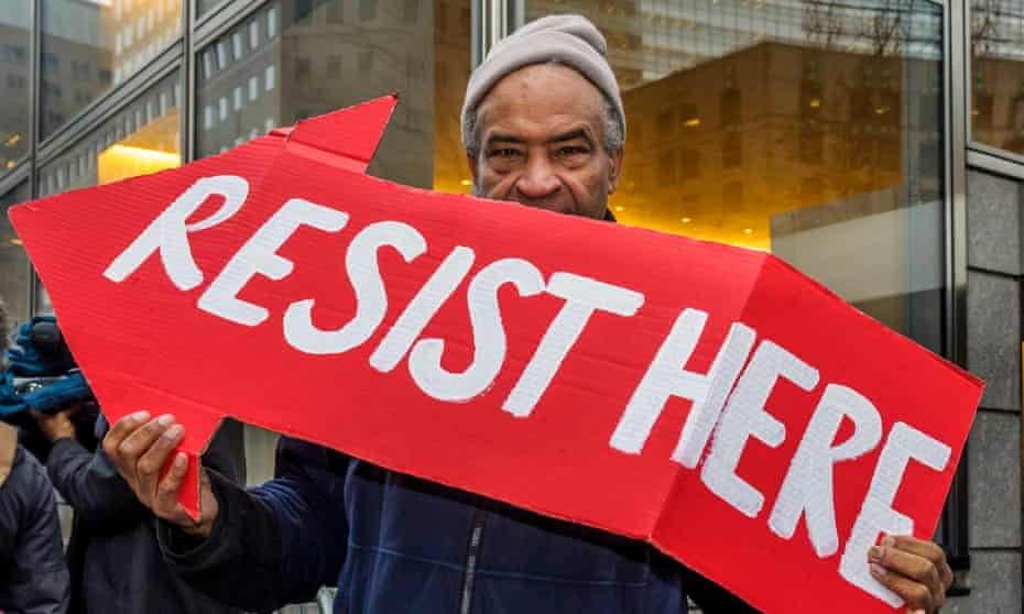 A protester at Goldman Sachs in New York City, part of the 'Government Sachs' operation.