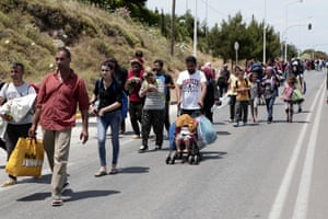 Refugees from Camp Moira in Lesbos on a protest march over conditions in the camp, May 2018