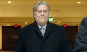 Steve Bannon leaves a House Intelligence Committee meeting on Capitol Hill Tuesday in Washington DC.