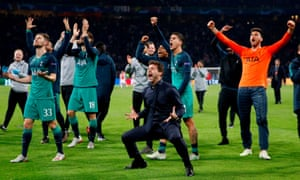 Mauricio Pochettino celebrates Tottenham's win at Ajax that took them to the Champions League final.