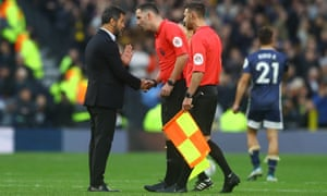 Watford manager Quique Sanchez Flores seeks answers from the referee Chris Kavanagh after VAR did not cancel out Spurs' late equaliser.