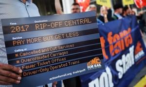 Protesters demonstrate against rising rail fares at London Bridge