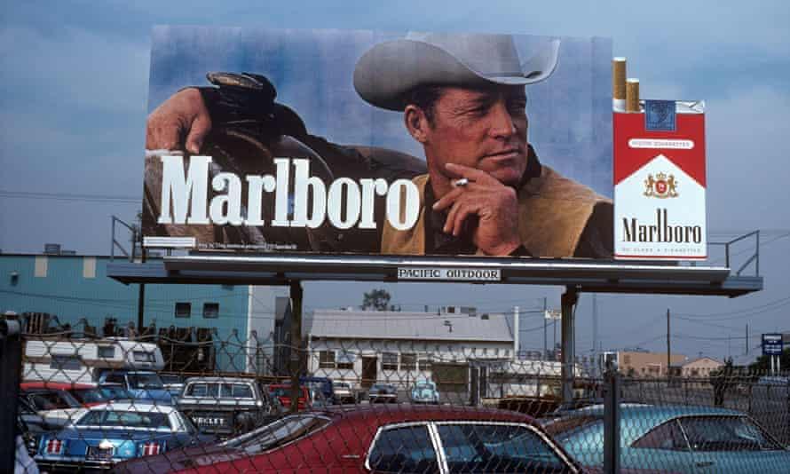 Marlboro cigarettes billboard in Los Angeles, California, circa 1976.