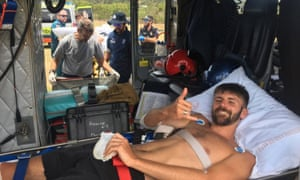 Danny Maggs after the shark attack in Australia