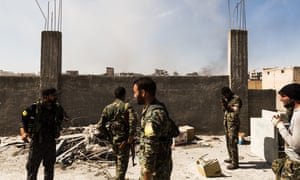 Fighters on the frontline in east Raqqa.