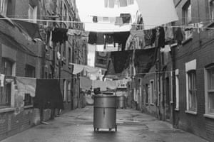 Washing out behind flats in Myrdle street. 1984
