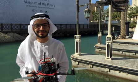 Talib Alhinai with Imperial's drone at the Drones for Good competition