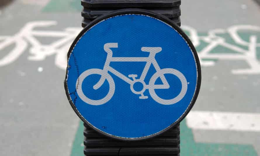 Cycle lane sign in central London