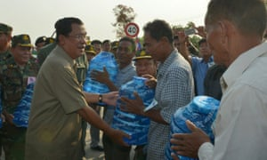 Cambodian prime minister Hun Sen delivers drinking water to villagers in drought-hit northwestern Banteay Meanchey province.