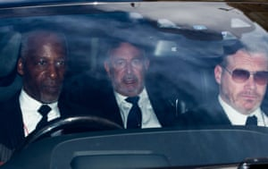 """British businessman, and the chairman of Arcadia Group, Philip Green (C), leaves the Houses of Parliament in a car after being questioned by MPs on the fall of retailer BHS in London on June 15, 2016. Philip Green has apologised to the staff of collapsed retailer BHS, adding that he will """"sort"""" the firm's dilapidated pension scheme which has a £571 million black hole. / AFP PHOTO / DANIEL LEAL-OLIVASDANIEL LEAL-OLIVAS/AFP/Getty Images"""