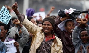 Protesters chant slogans during a demonstration over what they say is unfair distribution of wealth in the country at Meskel Square in Ethiopia's capital Addis Ababa.