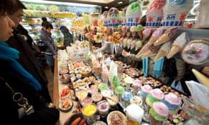 Plastic food, and beer, on display in Tokyo's Kappabashi Street.