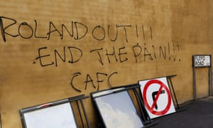 Fresh graffiti adorned the walls on Floyd Road before Charlton's first home game of the season as fans continued their protest against the club's owner, Roland Duchâtelet.