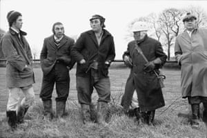 Hunt followers at Westacott, Riddlecombe, 1975.