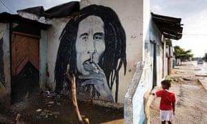 Wall painting of Bob Marley, Kingston, Jamaica