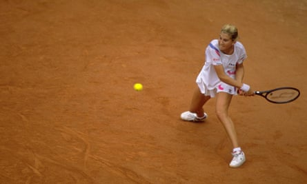 Monica Seles in action at the French Open in 1990.