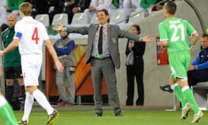 Fabio Capello gestures during England's goalless draw with Algeria in their second group game.