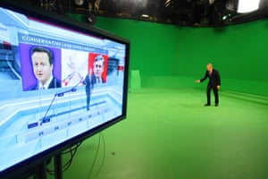 Jeremy Vine in the general election studio with the green screen in the background in 2012