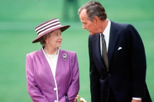 George HW Bush and the Queen in Washington in 1991