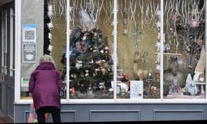 A Christmas display in a shop window in Leek, Staffordshire